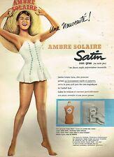 F- Publicité Advertising 1956 Cosmétique la crème Ambre solaire