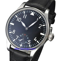 Parnis 44mm Gents Vintage Hand Winding 6498 Thin Watch Luminous Dial Wristwatch