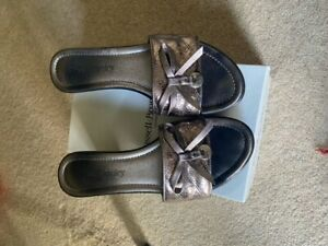 Russell & Bromley Love-Charm Pewter Metallic High Sandals size 39