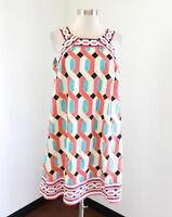 Crown and Ivy White Coral Blue Geometric Tunic Shift Dress Size 14 Casual