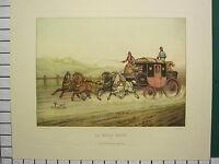 C1880 Grande Antico Stampa ~ Post Tronco Cavallo e Carrozza Malle Bargue Fort