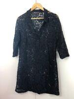 Womens Dress Size 10 12 Black Lace Boho Tunic Shirt Casual Party