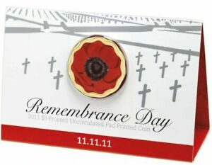 2011 Australia $5 Remembrance Day 11.11.11 Frosted Pad Printed Coin Unc