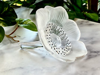 "Lalique Anemone Flower Paperweight Mint Condition Signed Authentic 4'"" Diameter"