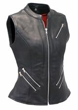 UK STOCK WOMENS CLASSICAL REAL LEATHER BIKER STYLE LADIES WAISTCOAT/VEST
