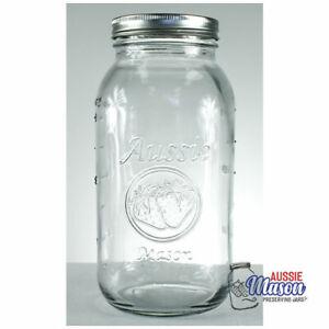 12 x Huge 2 Litre AUSSIE Mason Half Gallon Jars Lids Preserving Canning Storage