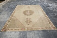 7'6x10'4 Turkish Wool Rug Antique Oushak Rug Anatolian Rug Pink Oushak Rug-1451