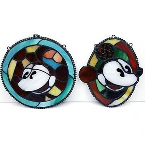 Mickey & Co. Vintage Stained Glass Suncatchers - (RARE SET OF 2)