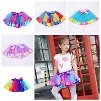 0-10Y Toddler Girls Tutu Skirt Baby Kids Rainbow Ballet Dance Dress Wear Costume