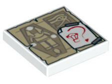 LEGO - Tile 2 x 2 with Mummy Parchment /  Paper w/ Gem & Question Mark - White