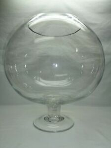 "Vtg Huge 15"" Wine Art Glass Goblet Vase Rose Bowl Fish Bowl Snifter Bar Decor"