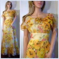 Vintage 60's Yellow Floral Print Maxi Dress Size M