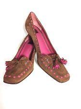 Coach Brown /Pink Suede Kitten Heel Tassel Pumps Classic Shoes size 10 M