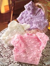 """Aran Basketweave & Bobble Baby Cardigans & Sweater 16"""" - 22"""" Knitting Pattern"""