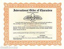 W. C. Hammond-Adler International Order Charact Certificate Historical Aviation