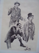 RARE! VINTAGE LITHOGRAPH PRINT OF THE MARX BROTHERS SIGN BY LANSE