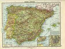 Antique map Spain and Portugal Madrid Lissabon 1926