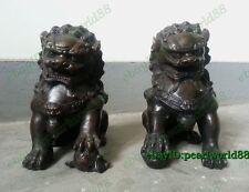 Antique Door fengshui Archaic Bronze Guardion Lion Foo Dogs lucky Old Statues