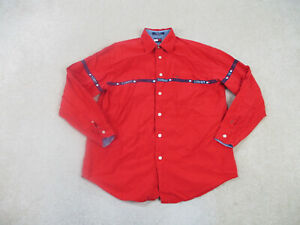 VINTAGE Tommy Hilfiger Shirt Adult Medium Red Blue Button Up Casual Mens B44*