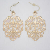 premier designs jewelry matte gold tone drop hoop dangle earrings hollow flower
