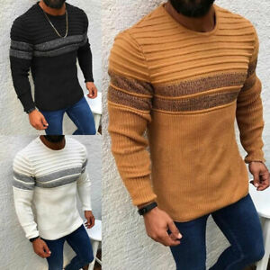 Men Autumn Pullover Long Sleeve Sweaters Warm Stripeds Crew Neck Knitted Tops