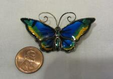 David Anderson - Enameled Butterfly Pin - Green - Gold, Black & Blue    Norway