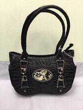 Debbie Brooks Handbag Purse Satchel Bag Magnafab Black Leather Snake Embossed