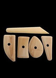 5 PEICE NATURAL WOOD CLAY MODELING TOOL SET