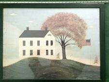 Framed Warren Kimble Framed Print House with Windblown Flag and Tree