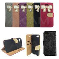 iPhone 7 Plus Bow Design Fancy Diamond Bling Glitter Book Wallet Flip Case Cover