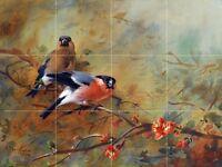 Bullfinches Birds Tile Mural Kitchen Bathroom Wall Backsplash Marble Ceramic
