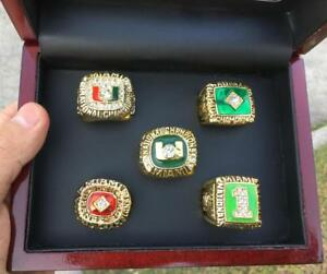 5 pcs Miami Hurricanes National Team Ring Souvenirs Set With Wooden Box Fan Gift