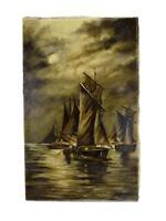 French Antique Night Seascape Sailboats Oil Painting On Linen Canvas Jourjon