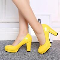 Plus Size Sweet Candy Colors Womens Slip On Patent Leather Block High Heel Shoes