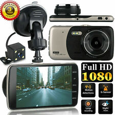 "4"" 1080P Dual Lens Car Dash Cam Front and Rear Camera Dashboard DVR Recorder"