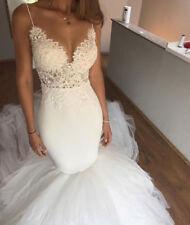 V Neck Mermaid Wedding Dress Bridal Gown Spaghetti Strap Lace Appliqued Backless