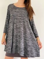 BELLE CURVE Grey Marl Stretch Knit 3/4 Sleeve Casual Tunic Top Plus Size AU 20