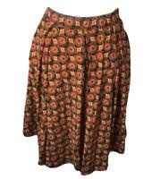 Lularoe Women Madision Skirt Small Orange Geometric Pleated Pockets Modest Nwt