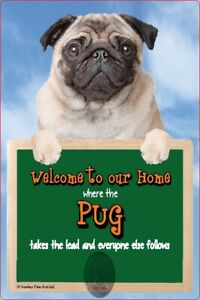 PUG dog lead holder Pugs sign Welcome to our Home sign dogs dog sign novelty fun