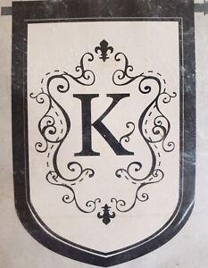 "Monogram ""K"" ESTATE SIZE House Flag-Evergreen-Double Sided Appliquéd-36""x54"""