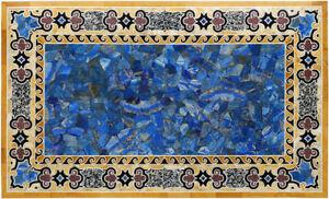 "48"" x 32"" Pietra Dura Lapis Inlay Handicraft Home Decor Dining Marble Table Top"