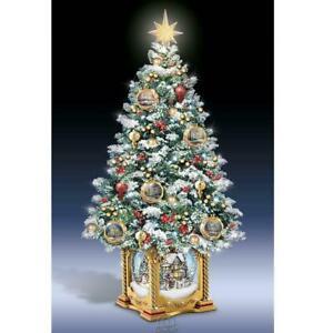 The Thomas Kinkade Snow Globe Tabletop Tree Christmas Decoration Handpainted