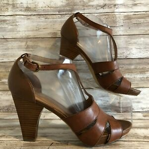Franco Sarto 9.5M Cyndia T-Strap Sandal Shoe Brown Leather Stacked Heel Womens