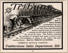 1900 D Tribune Bicycle American Bicycle Co Cyclist Chasing Train Print Ad 1900-09 Advertising-print
