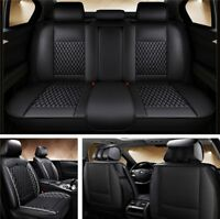 Four Seasons Universal Car Seat Cover Set Leather Full Surrounded Cushion Black