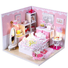 Dolls house Miniature DIY Kit w/ Cover Lights Furniture Girl's Pink Bedroom