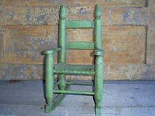 Antique Ladder Back Child's Toy Woven Splint Seat Wood Rocking Chair Old Paint