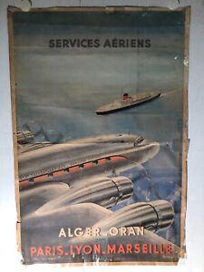 Rare affiche ancienne avion bateau PLM Alger Oran par Lezla 1953