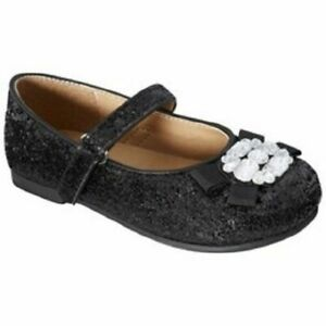 Toddler Girl's Cherokee Black, Bronze or Pink Sparkle Flats Size 5, 7 or 11