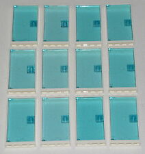 LEGO LOT OF 12 DOORS 1 X 4 X 6 WHITE WINDOW FRAMES AND TRANS-LIGHT BLUE DOORS